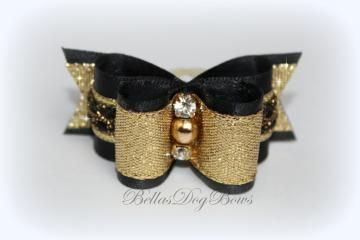 Exquisite Show Bow. Black and Gold Double Loop Bow with Swarovski Crystals by BellasDogBows for $15.99