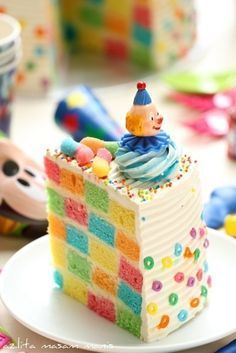 Baking five different cake layers in five different colors and then carefully slicing and arranging them so as to create one super-creepy clown cake: | 17 Cooking Projects Ain't Nobody Got TimeFor