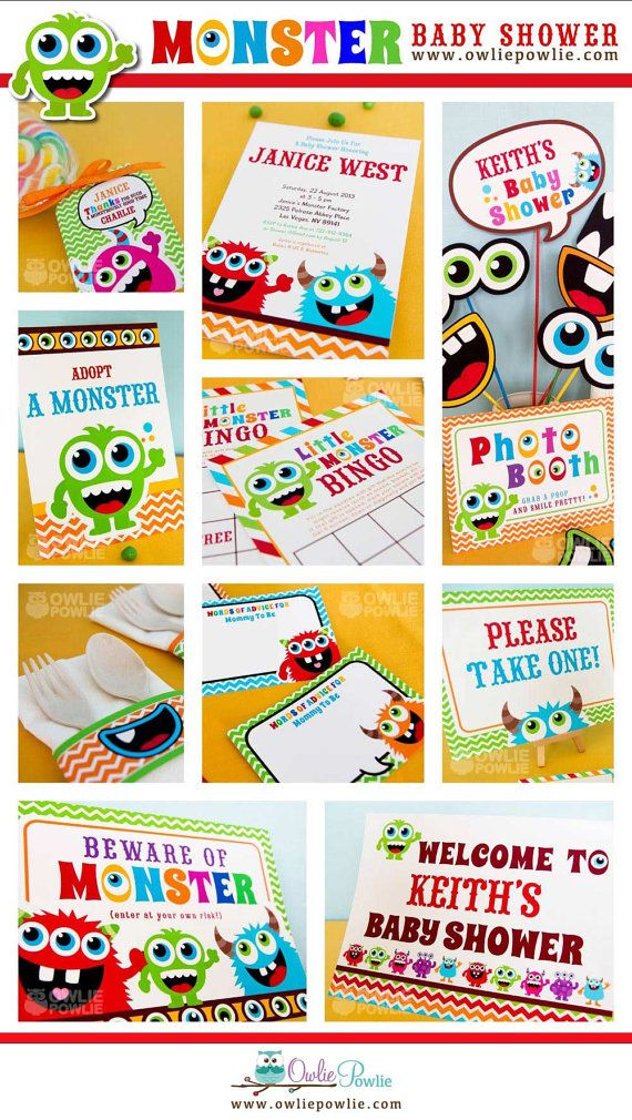 Monster Bash BABY Shower Party Printable Package & Invitation