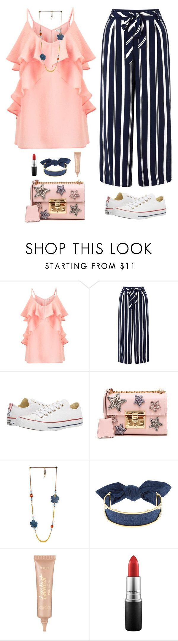 """""""Stacy's mom"""" by xoxomuty ❤ liked on Polyvore featuring Miss Selfridge, Monsoon, Converse, Gucci, Monica Sordo, tarte, MAC Cosmetics, WorkWear and polyvoreOOTD"""