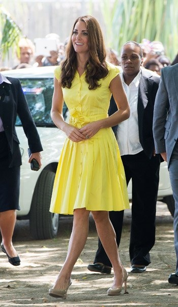 Kate Middleton, yellow dress #pearllang #beBritish