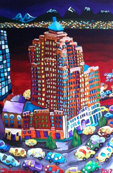 """The Marine Building  48"""" x 72"""", acrylic on canvas, 2012"""