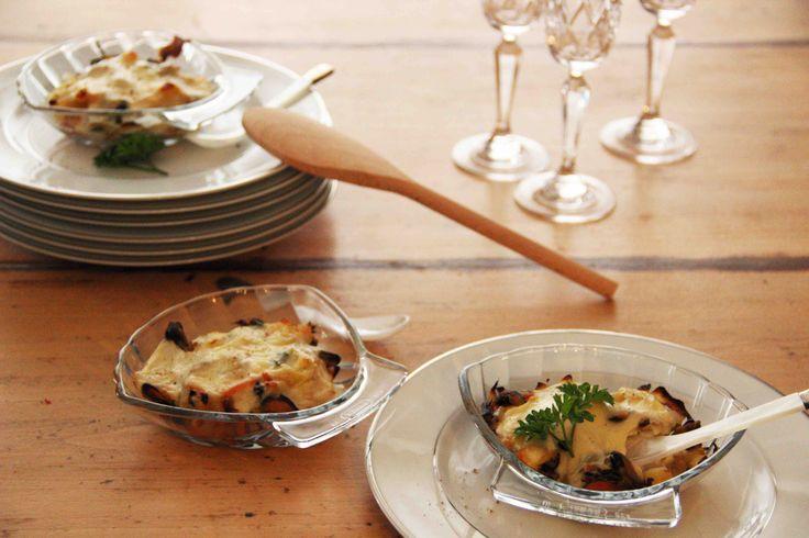Risotto de fruits de mer dans les coquilles Saint-Jacques en verre Pyrex Photo : Histoire(s) de goûts