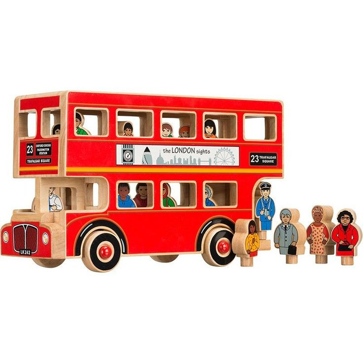 Traditional Wooden London Bus + People