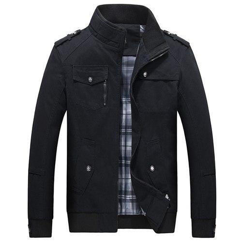 Elegant Color Accent Cotton Military Jacket
