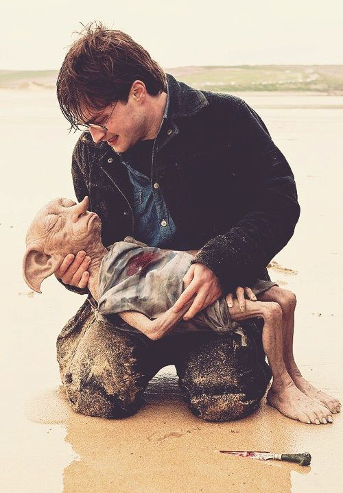 Dobby is ... happy ... to be with his friend, Harry ... Potter.