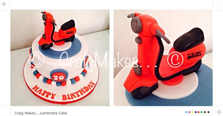 Moped themed cake