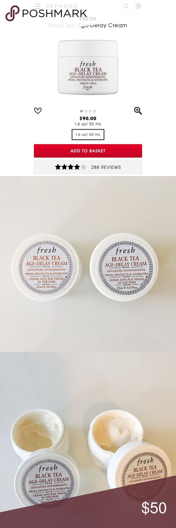 Fresh black tea age delay cream Highly rated fresh black tea age delay cream. This is for two .67fl oz = 1.34fl oz of the cream. Retails for $90 at 1.6fl. One is brand new, unused and the second has been used just twice. Great product just have too much skincare. fresh  Makeup