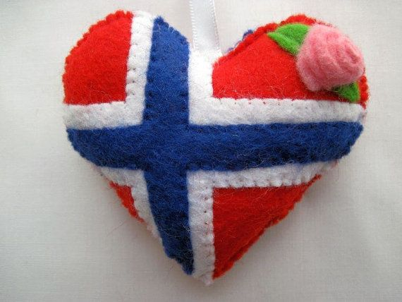 Norwegian Flag Felt Heart -=- for Those of Us Who Love Norway, even if Just as Adoptees !!