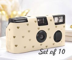 10 Disposable Cameras - Wedding Favor - Heart Pattern Camera - Wedding - True Love - Photo Booth - Party - Single Use - Romance - Set of 10 by LoveandLuxeHandmade on Etsy https://www.etsy.com/listing/204468066/10-disposable-cameras-wedding-favor