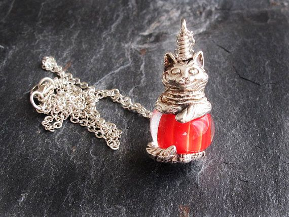 Cat Necklace with Lampwork Glass Bead Cute by GlassHouseLampwork