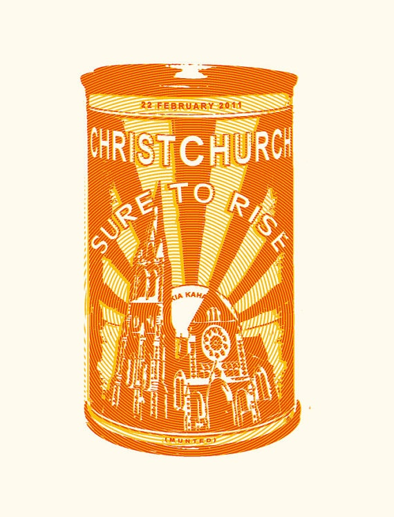 Christchurch earthquake tea towel
