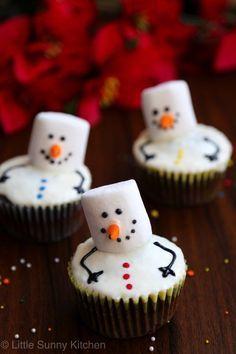 Marshmallow Snowman Cupcakes - Delish.com