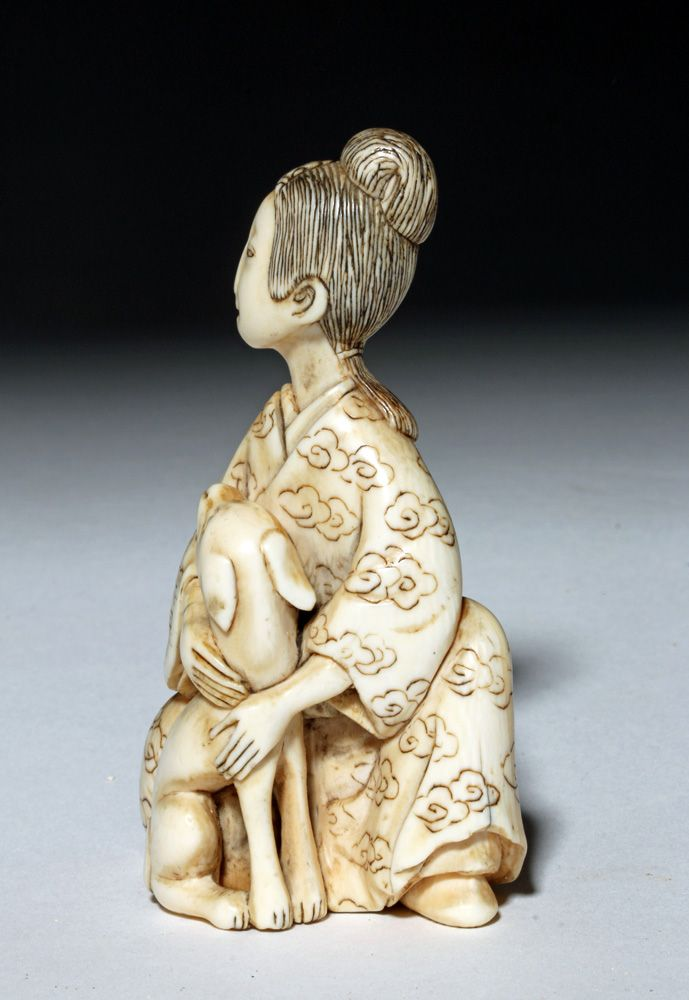 Buy online, view images and see past prices for 19th C. Japanese Ivory Netsuke - Woman & Dog. Invaluable is the world's largest marketplace for art, antiques, and collectibles.