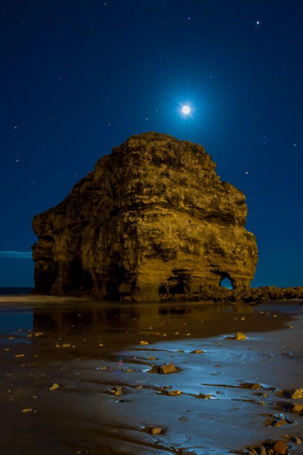 Marsden Rock and the Moon, near South Shields, along the North Sea coast, England