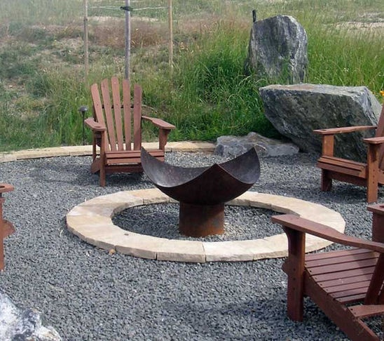 Pea gravel fire pit area in the garden pinterest for Gravel around fire pit