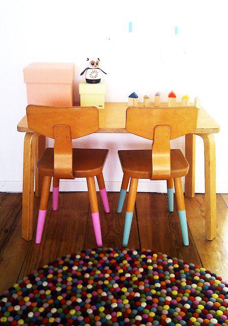 Love the chair leg colors!!