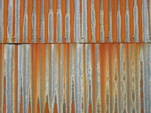 Rusty corrugated steel