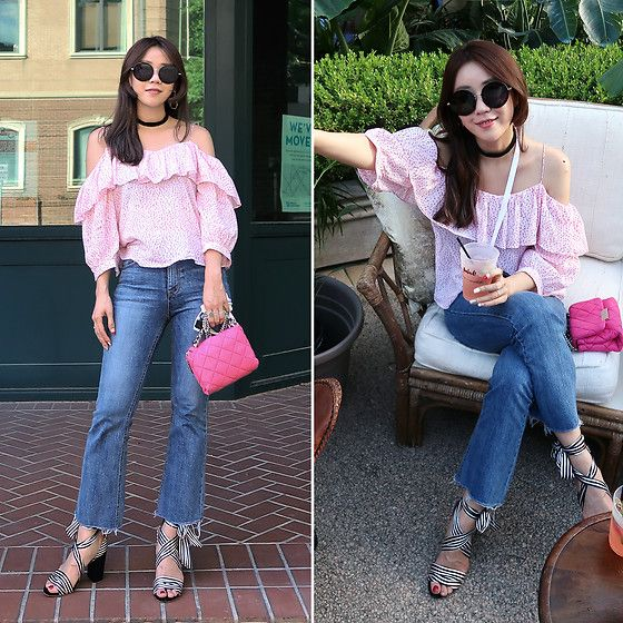 Get this look: http://lb.nu/look/8711899  More looks by Rekay Style: http://lb.nu/rekaystyle  Items in this look:  Miu Miu Round Sunglass, Andotherstories Off Shoulder Blouse, Bootcut Jeans, Stella Mc Cartney Becks Bag, Raye Strap Sandals   #casual #chic #romantic #rewardstyle #blogger #kfashion #koreafashion #kstyle #seoul