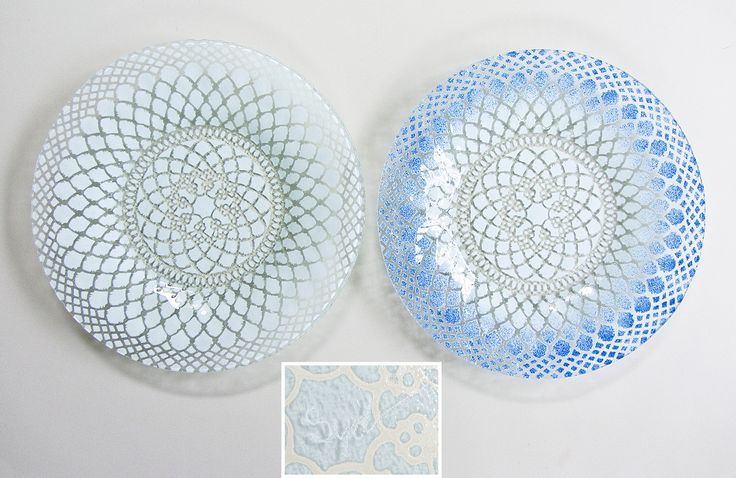 "Set of Two 8.5"" Fused Glass Lace Design Plates by Bill Sydenstricker, Sydenstricker Glass, Brewster, Massachusetts (Cape Cod)"