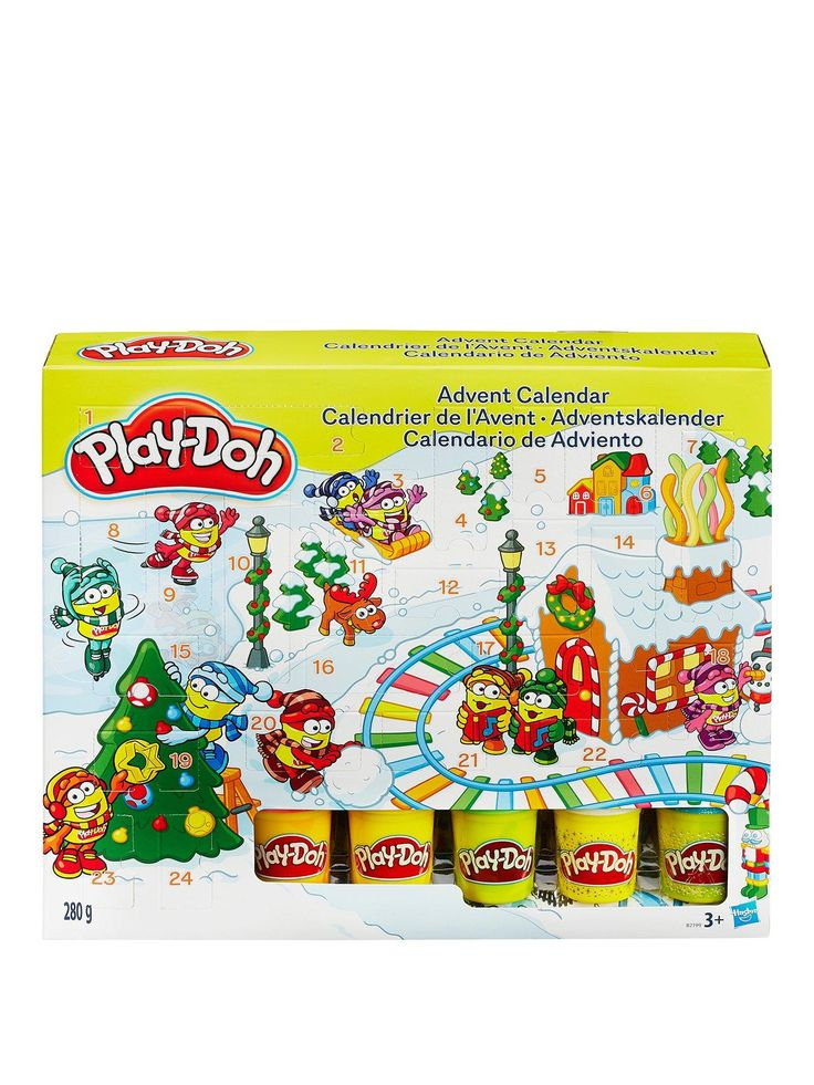 PlayDoh Advent Calendar Count down to Christmas, Play-Doh style! Does door 5 hide a snowflake stamper? Is there a tree mold behind door 1? You'll have to find out what's hiding in the Advent Calendar. With a different surprise gift for the 24 days leading up to Santa's arrival, there's no knowing what festive creations you'll be able to shape for the season - and beyond! Includes 24 surprises, playmatand 5 cans of Play-Doh – kids will love getting creative with this Play-Doh holiday…