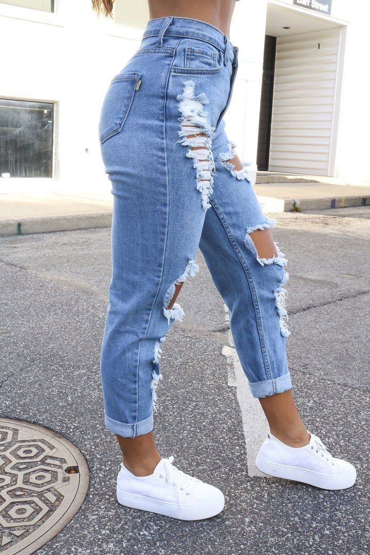 Torn Jeans Cute Ripped Jeans Vintage Denim Jeans Ripped Jeans Outfit