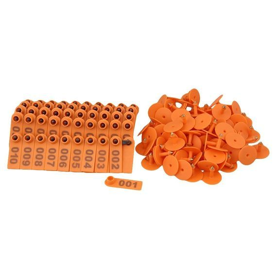 BQLZR Orange 1-100 Number Plastic Livestock Ear Tag Animal Tag for Goat Sheep Pig Pack of 100 * You can get more details here : Dog Treats