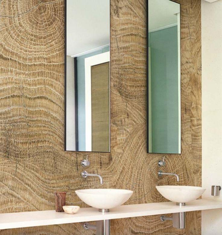 Badezimmer Ohne Fliesen   Effektvolle Holz Wand Und Suesses Kleines  Waschbecken