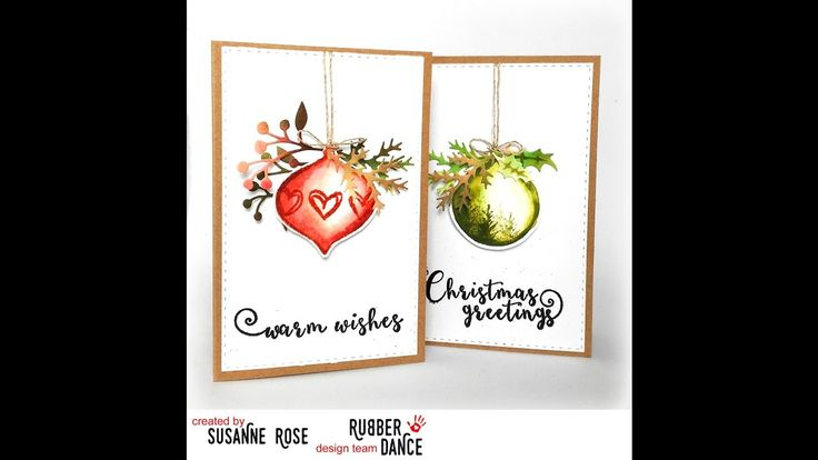 Christmas card with Distress Inks and the fun Watercolour Xmas stamps from rubberdance.com
