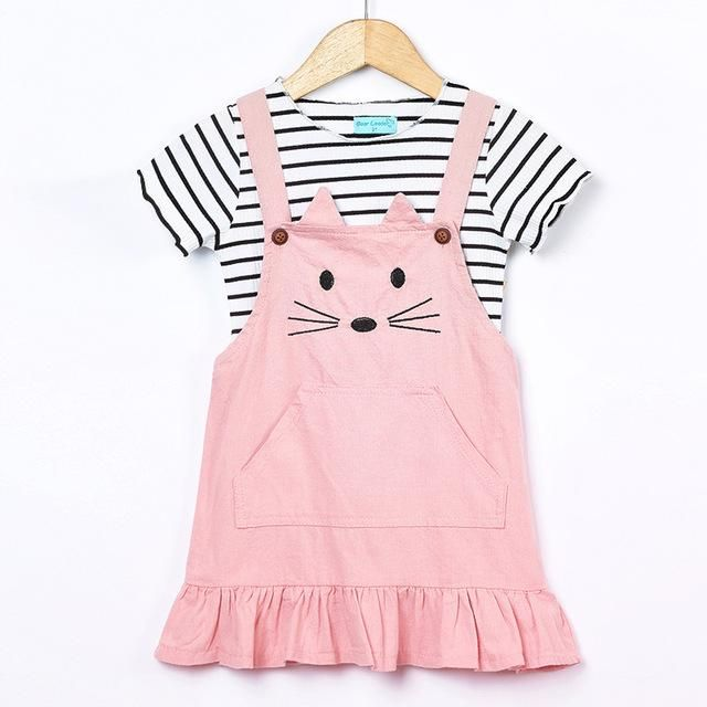 Cat Overall Dress with Striped Top