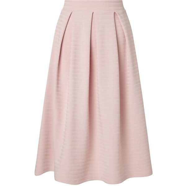 Miss Selfridge Nude Textured Midi Skirt (€43) ❤ liked on Polyvore featuring skirts, women, box pleat skirt, textured skirt, mid calf skirts, pink midi skirt and midi skirt