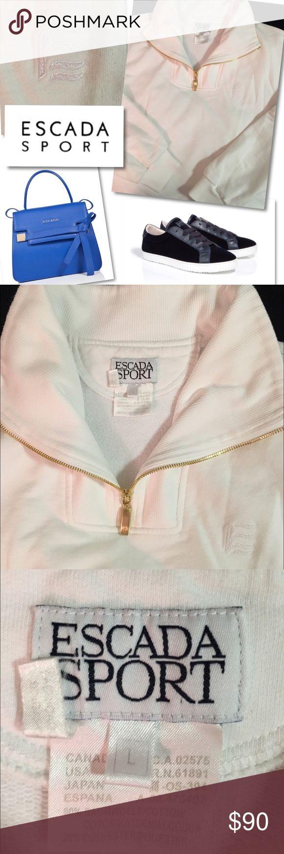 "ESCADA SPORT WHITE 1/2 ZIP JACKET TOP PULLOVER L ESCADA SPORT  WHITE 1/2 ZIP JACKET TOP PULLOVER  SZ L  46"" BUST 27"" LENGTH COTTON / POLYESTER RETAILS $575 Escada Jackets & Coats"