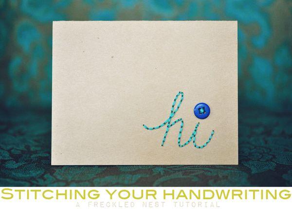 Stitching your handwriting
