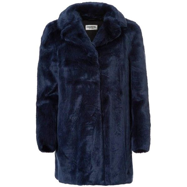 Essentiel Obechian Faux Fur Coat - Night-Sky (£300) ❤ liked on Polyvore featuring outerwear, coats, fake fur coats, faux fur lined coat, faux fur coat, fake fur lined coats and blue coat