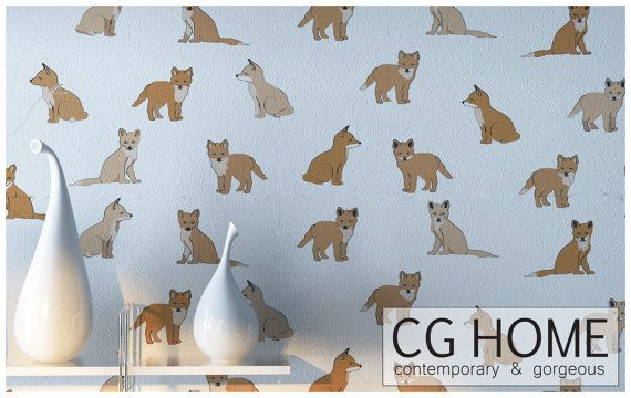 Little Fox PEEL & STICK wallpaper Removable DiY nursery makeover CGhome for renters self adhesive