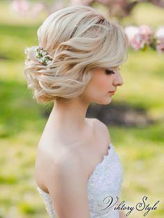 Прически на свадьбу на короткий волос