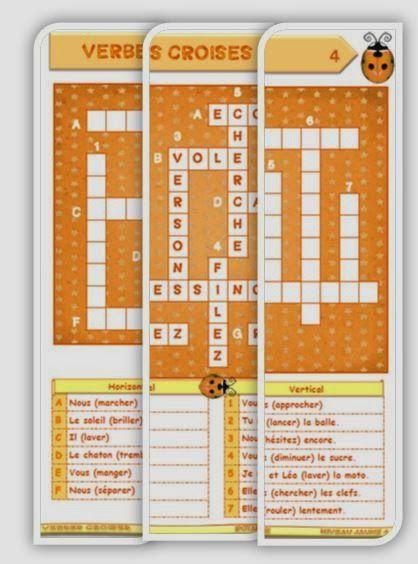 """IPOTÂME ....TÂME: CE1 / 2 conjugaison : mots croisés verbes en """"er"""""""
