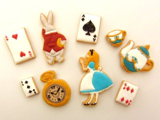 Alice in Wonderland icing cookies...cute for a little girls birthday party