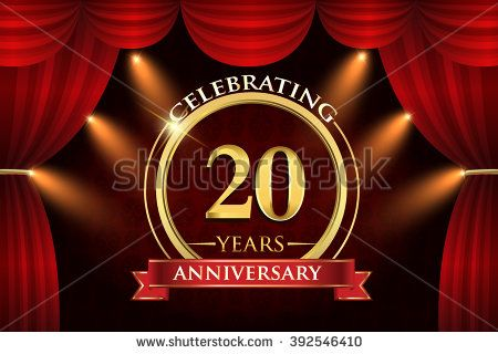 20 years anniversary celebration with red ribbon. Curtain background and light shine. golden anniversary logo. - stock vector