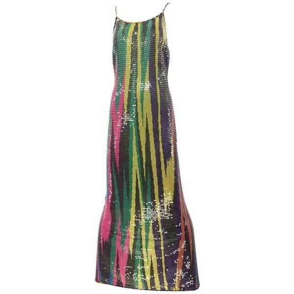 Preowned Vintage Missoni Multi Color Sequin Knit Dress ($1,800) ❤ liked on Polyvore featuring dresses, evening gowns, grey, stretch dresses, vintage grey dress, multi color sequin dress, grey sequin dress and gray cocktail dress