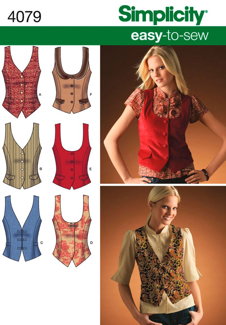 View F - waistcoat Womens Lined Vests Sewing Pattern 4079 Simplicity - Best 25+ Vest Pattern Ideas On Pinterest Patrones, Sewing