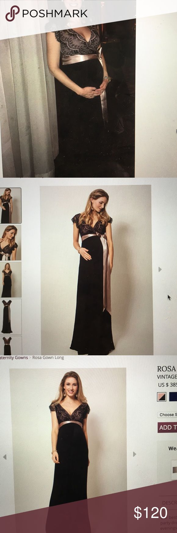 Tiffany Rose Maternity formal dress Rosa Gown Long Rosa Gown Long, in Black and Vintage Blush colorway. Tiffany Rose brand. Excellent used condition worn twice (Jan and Feb 2017 once for a wedding and once for an auction) and dry cleaned! Would work in warm weather- super comfortable for a formal maternity gown! Love it, but it was expensive (I paid about $300 because I got it on sale), just looking to recoup a little and pass along to another mama in need of a hot dress! I wear a 2-4 pre…