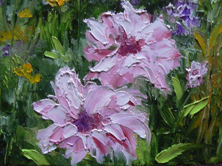 tableau peinture a l'huile au couteau les dahlias rose du jardin de Monet : Décorations murales par lilihervieu