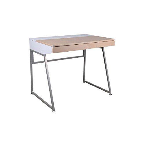 JUSThome B-130 Schreibtisch Schülerschreibtisch Arbeitstisch Weiß Erle 75x60x90 cm