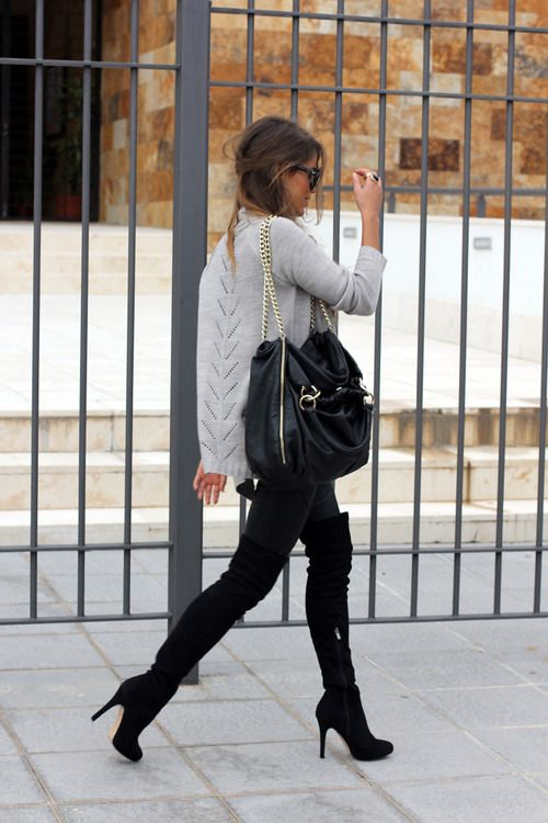 Bag, Over the knee boots, sweater. This entire outfit is <3