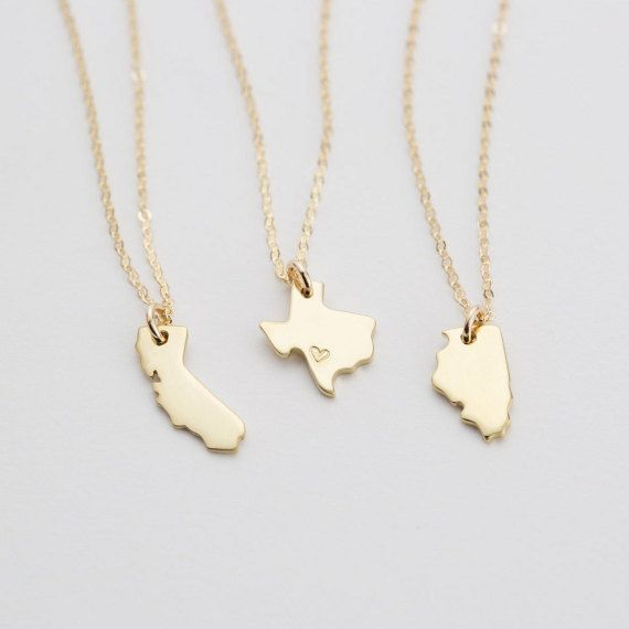 State Charm Necklace, Dainty Custom State Necklace If I got NY I'd definitely want a heart over Rochester