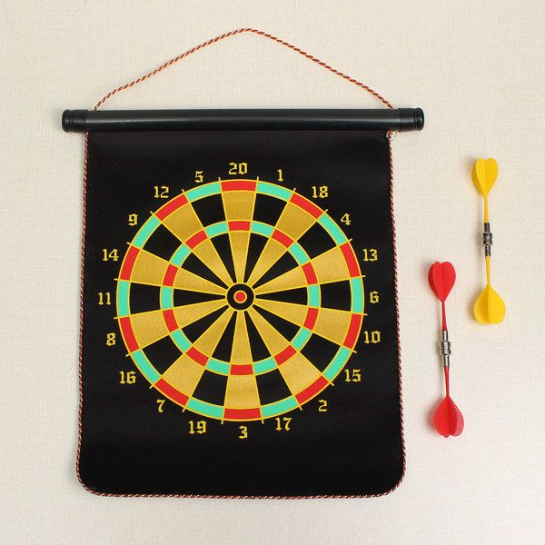 Double-sided Safety Magnetic Dart Board With 4 Pcs Darts Target Game Toy