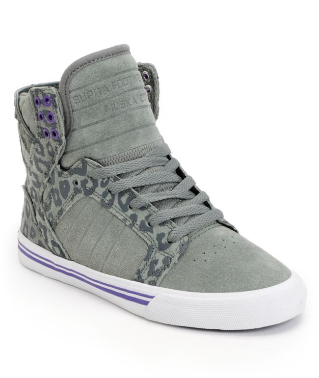 The ultra stylish Supra Womens Skytop grey and cheetah print suede skate  shoe was designed with you ladies in mind. These girls high top skate shoes  feature ...