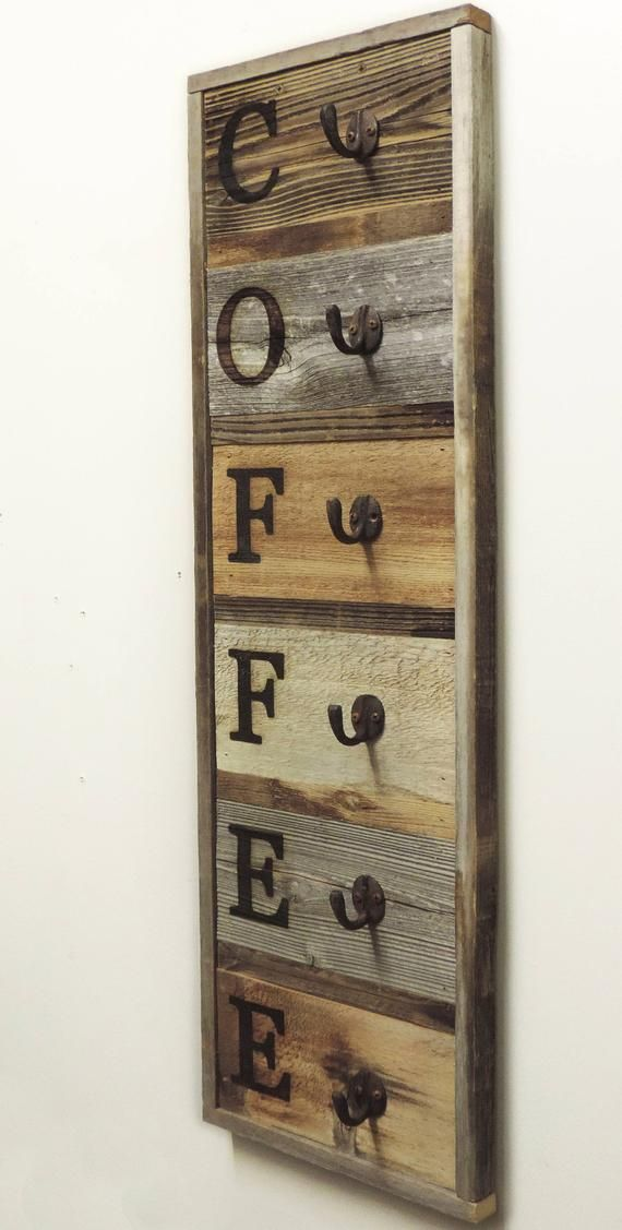 Vertical Barnwood Coffee Mug Rack Wall Mounted Wooden Hanging Etsy Barn Wood Wood Projects Wood Diy