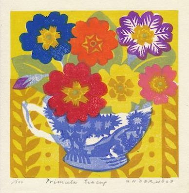 'Primula Teacup' by Matt Underwood (woodblock print)